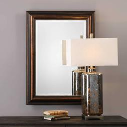 Stud Edge Wall Mirror Oil Rubbed Bronze 37H Beveled Rectangl