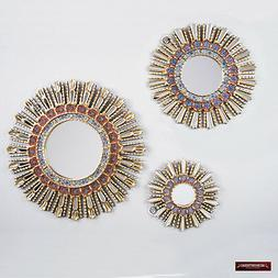Sunburst Red Wall Mirrors set  - Peruvian Round Mirror for w