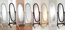 Swivel Full Length Wood Cheval Floor Mirror, White/Oak/Cherr