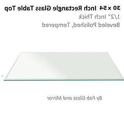 Fab Glass and Mirror T-30x54REC12THBETE Rectangle Glass Tabl