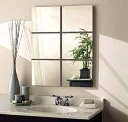 Alrens 15x15cm Silver 6 Pcs Squares Reflective Mirror Surfac