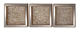 Traditional Metal Mirror Wall Plaque Set Of 3