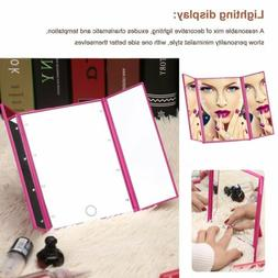 Tri-Fold Light 8 LED Touch Screen Makeup Mirror Tabletop Lig
