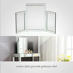 Tri-Fold Makeup Dressing Table Bevelled Tabletop Mirrors Bed