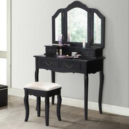 Tri Folding Mirror bathroom Wood Vanity Set Makeup Table Dre