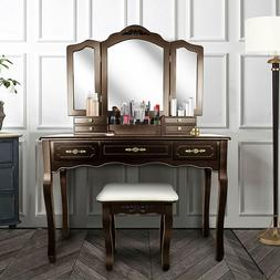 Tri Folding Mirror Vanity Dressing Table Set with Cushioned