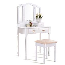 Giantex Tri Folding Mirror Bathroom Vanity Makeup Table Stoo
