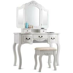 Tri Folding Mirror White Wood Vanity Set Makeup Table Dresse