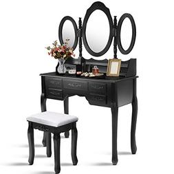 Giantex Tri Folding Oval Mirror Wood Bathroom Vanity Makeup