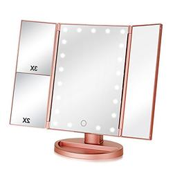 Tri-fold Lighted Vanity Makeup Mirror with 3x/2x/1x Magnific