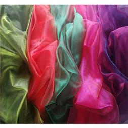 TWO TONE Crystal Mirror Iridescent Soft Organza Tulle Fabric