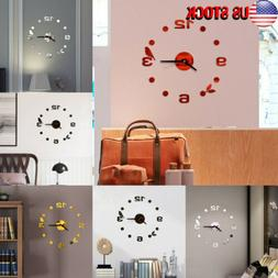 US Home Office Decor Room Modern DIY 3D Large Number Wall Cl