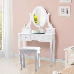 US Modern Home Bedroom Single Mirror MDF Wood Dresser with D