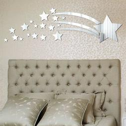 US Removable 3D Mirror Star Decal Art Mural Acrylic Wall Sti