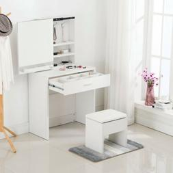 Vanity Dressing Desk Makeup Table Set with Stool Mirror Cabi
