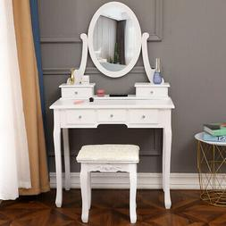 Vanity Makeup Dressing Table Set Jewelry Wood Desk with Stoo