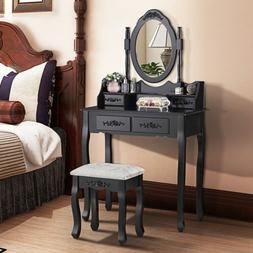 Vanity Makeup Table Dressing Desk Set with Stool 4 Drawers a