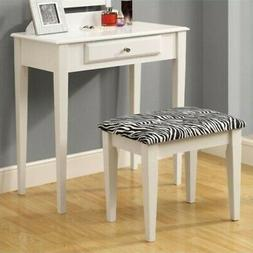 Monarch Specialties 2-Piece Vanity Set with a Zebra Fabric S