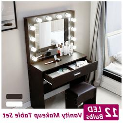 Vanity Set with 12 LED Lighted Mirror Makeup Dressing Table