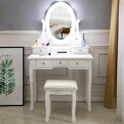 Vanity Set with Lighted Mirror 10 LED Bulbs Makeup Dressing