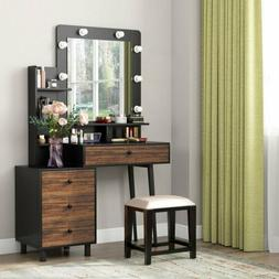 Tribesigns Vanity Set With Lighted Mirror& Drawers VIntage D