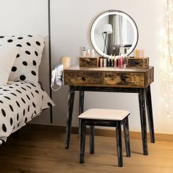 Vanity Set with Lighted Mirror Makeup Dressing Table Desk St