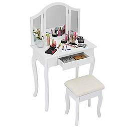 Giantex Bathroom Vanity Makeup Table Set w/Tri-Folding Mirro