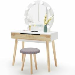 Tribesigns Vanity Table Set with Round 8 LED Lighted Mirror