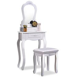 Giantex Vanity Wood Makeup Dressing Table Stool Set Bedroom