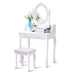Giantex Vanity Set Dressing Table with Stool, Wood Makeup Be