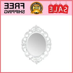 vWhite Oval Vintage Wall Mirror 11.5 x 15 Inch Made from hig