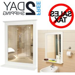 Wall Bathroom Mirror Vanity Framed With Shelf Home Mirrors E
