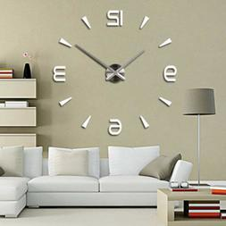 Wall Clock Large Watch Decal 3D Sticker DIY Home Office Room