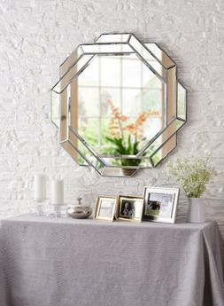 Wall Decor Round Beveled Mirror with Cut Glass Frame Wall De