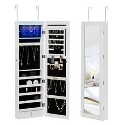 Wall Door Mounted LED Mirrored Jewelry Cabinet Organizer Sto
