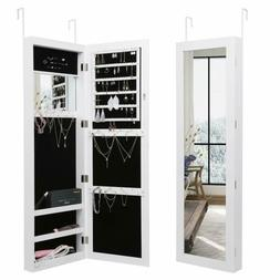 Wall Door Mounted w/LED Lights Mirror Jewelry Cabinet Storag