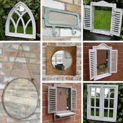 Wall Mirror French Country Window Arch Rectangle Aged Look W