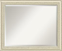 Wall Mirror Large, Country White Wash Wood: Outer Size 32 x