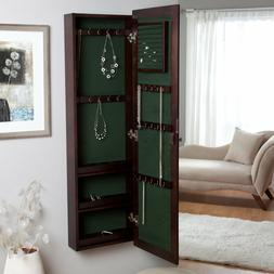Wall Mount Wood Locking Jewelry Armoire Storage Cabinet With