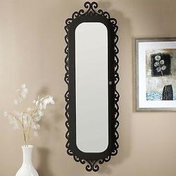 Wall-Mounted Jewelry Armoire Mirror with Gloss Black Scrollw