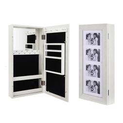 Wall Mounted Mirrored Jewelry Cabinet Armoire Makeup Storage
