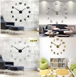 Wall Quartz Clock Horloge 3D DIY Mirror Stickers For Living