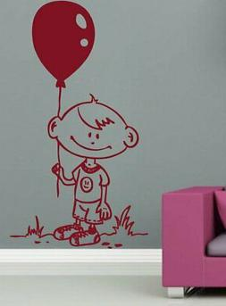 Wall Sticker Child With Balloon Design Home Decor Removable