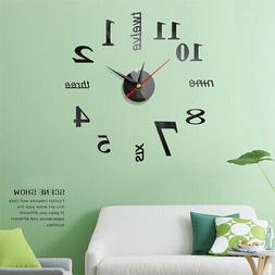 Watch Wall Clocks 3D Diy Acrylic Mirror Home Decor Living Ro