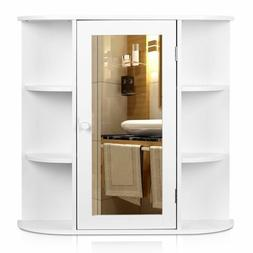 White Bathroom Wood Wall Cabinet Soap Shampoo Shelf Medicine