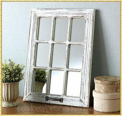 WHITE Distressed Wood Windowpane Mirror Rustic Country Farmh