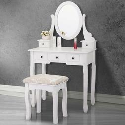 White Finish Wood Makeup Dressing Table Vanity Set with Stoo