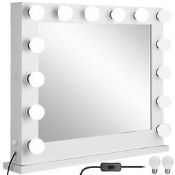 White Hollywood Makeup Vanity Mirror with Light Stage Large