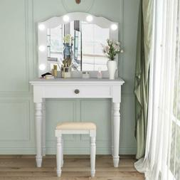 Tribesigns White Makeup Dressing Table and Stool Set with Li