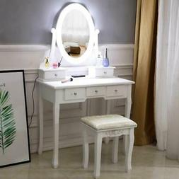 White Makeup Vanity Table Set with 10 Lights Mirror and 5 Dr